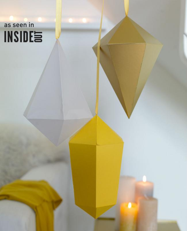 Christmas paper diamonds - These templates can be downloaded.  We wish you great joy with your DIY...