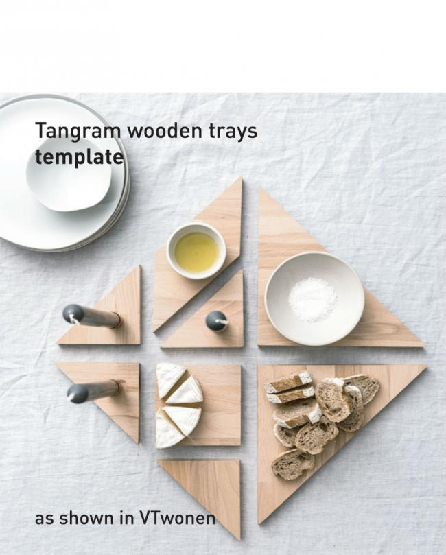 tangram wooden trays - Find here the template of the DIY  heart poster as shown in VTwonen edition 2 / 2017...