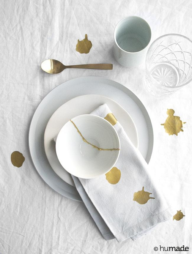 remarkable humade table cloth food stains gold solution DIY repair 6 jpg