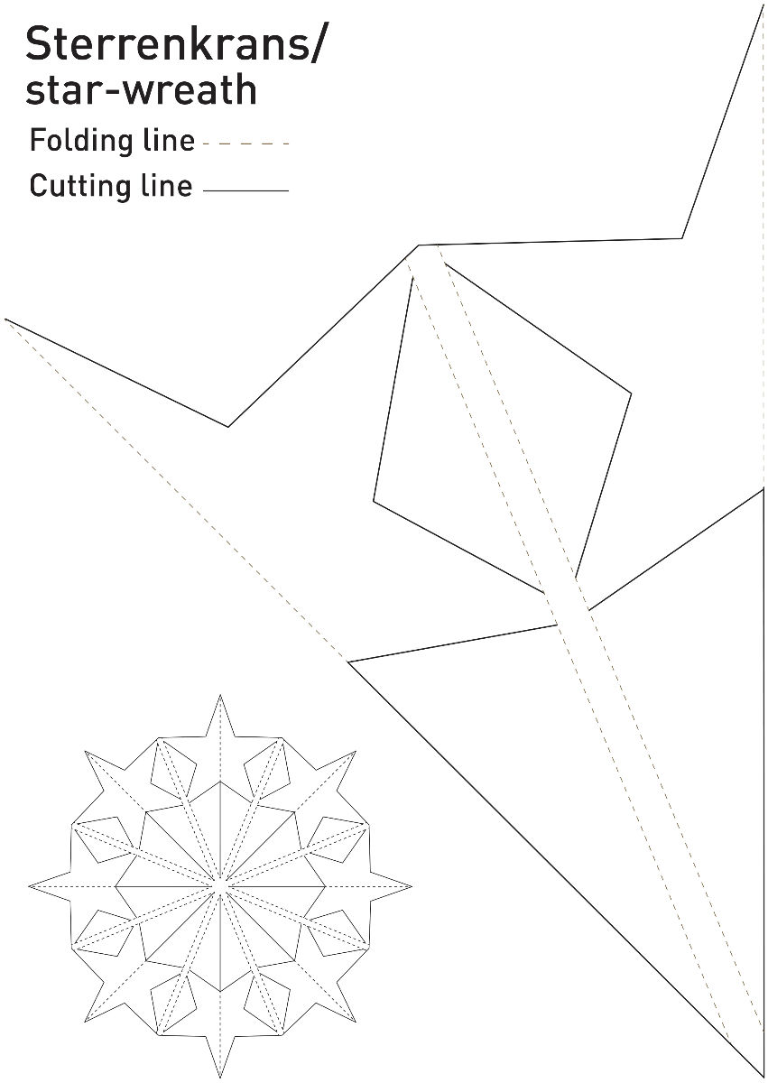 sterren krans / star wreath - Paper star wreath,  Download the template and trace it 8 times till you have a circle onto a 26...