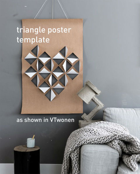 VTwonen triangle poster - Find here the template of the DIY  heart poster as shown in VTwonen edition 2 / 2017   &nb...