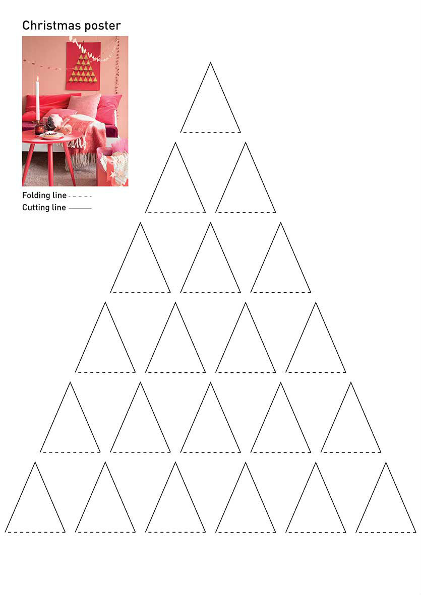 Christmas-tree poster - You can download here the template of the DIY Christmas-tree poster as shown in the Libelle living 2...